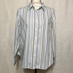 Mimi Maternity Button Down Striped Dress Blouse